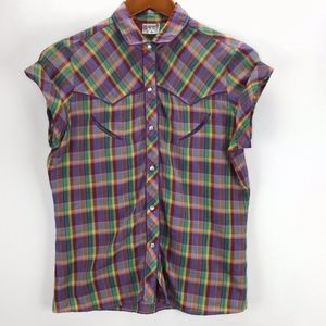 New York & Company Womans Plaid VTG Style Top